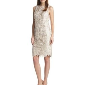 Adrianna Papell Lace Sheath Dress Champagne